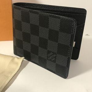 LouisVuitton Black Damier Leather Wallet*Authentic
